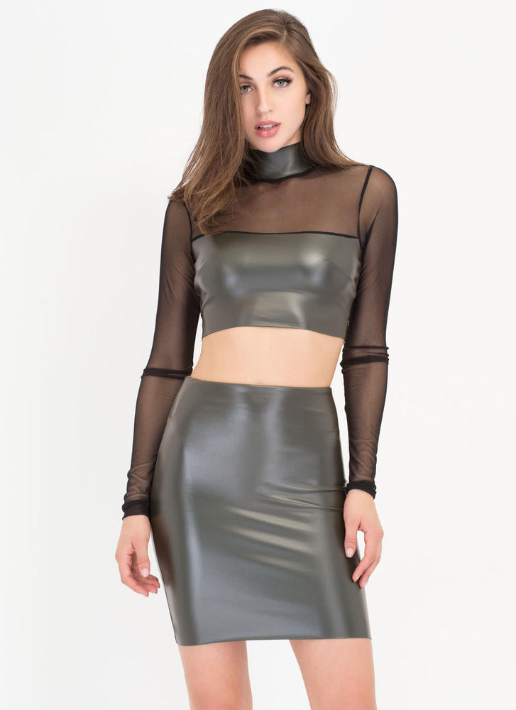 Sheer Of Yourself Two-Piece Dress OLIVE (Final Sale)