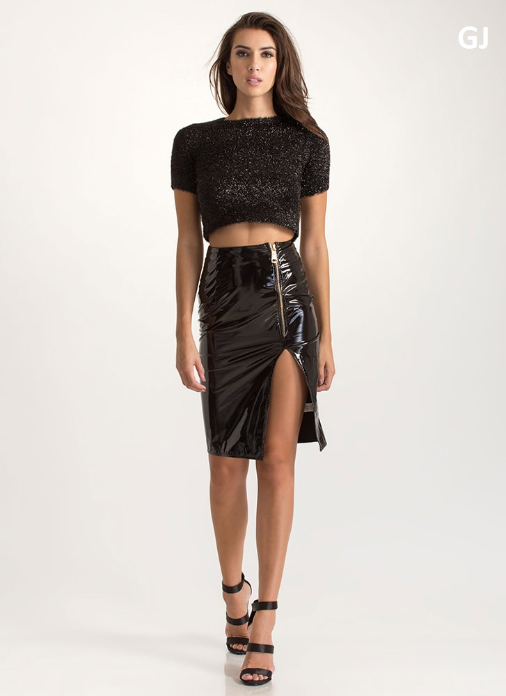 Vinyl Record Faux Patent Midi Skirt BLACK