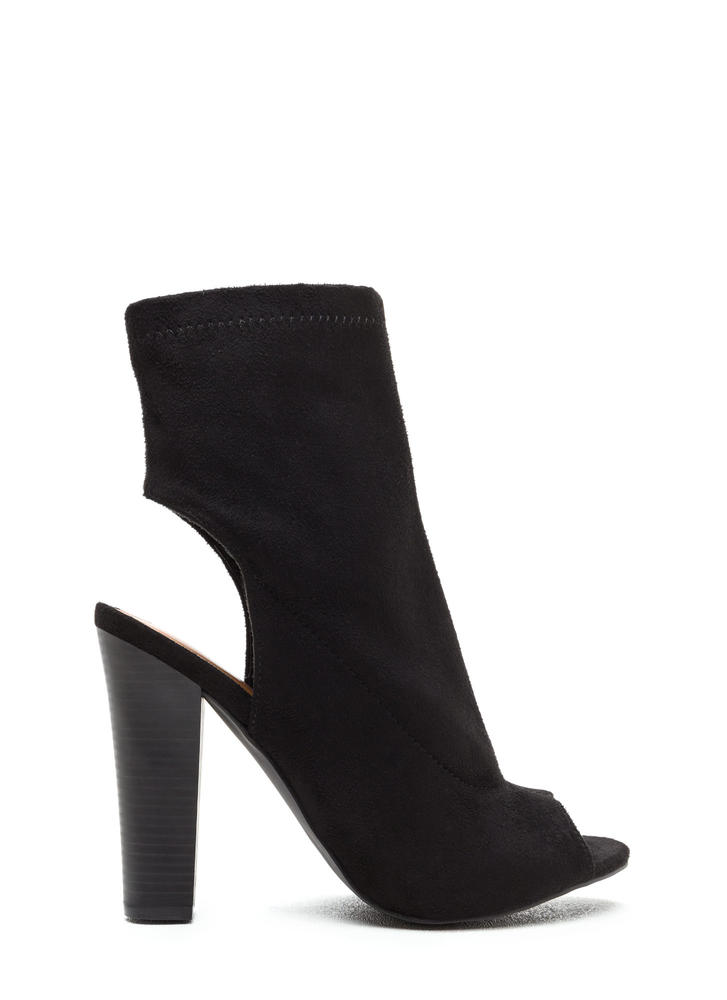 Make The Cut Chunky Faux Suede Booties BLACK