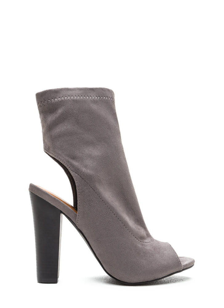 Make The Cut Chunky Faux Suede Booties GREY (Final Sale)