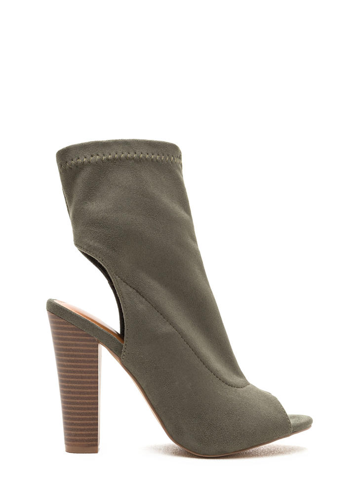 Make The Cut Chunky Faux Suede Booties OLIVE