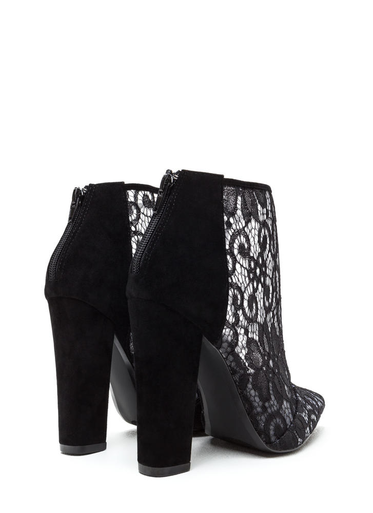 Romantic Summons Chunky Lace Booties BLACK