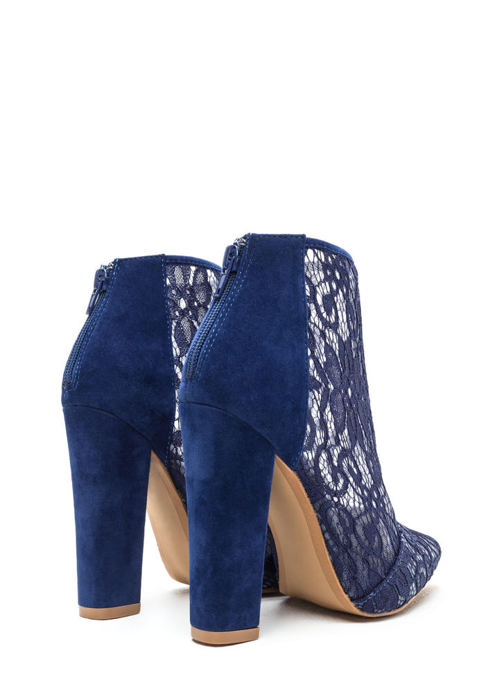 Romantic Summons Chunky Lace Booties BLUE