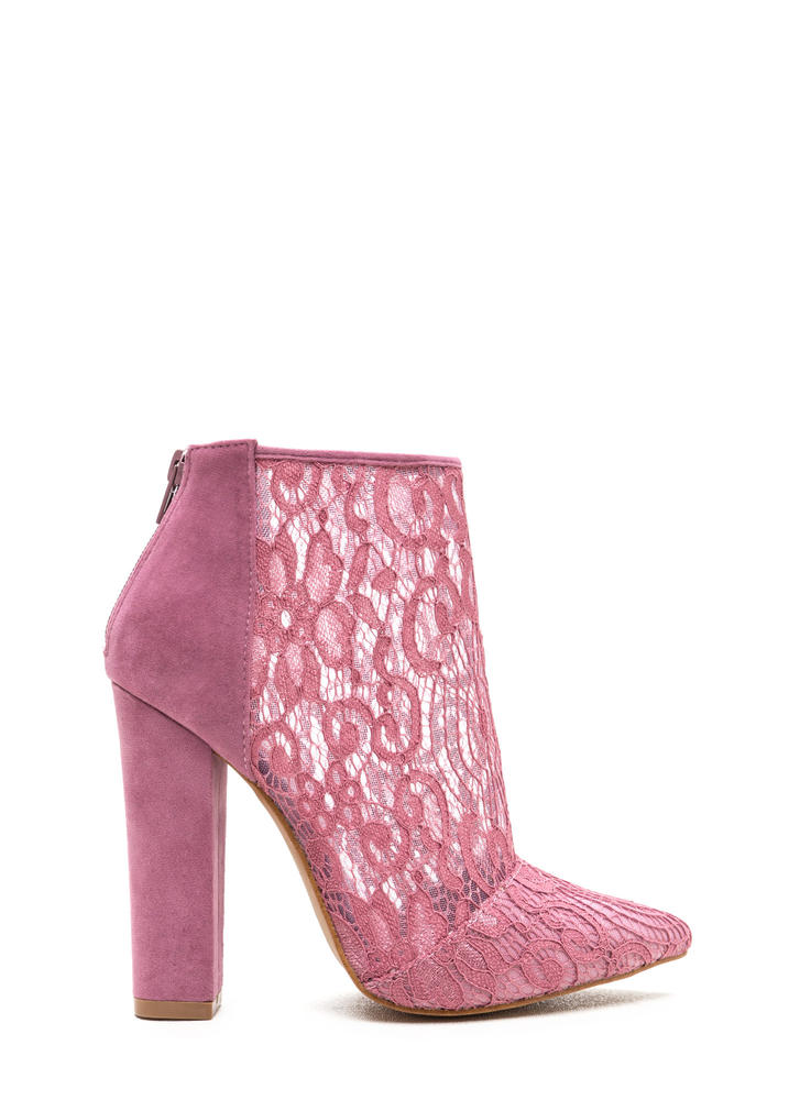 Romantic Summons Chunky Lace Booties MAUVE (Final Sale)