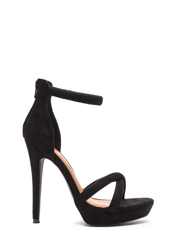 Perfect Evening Crisscrossed Strappy Heels BLACK