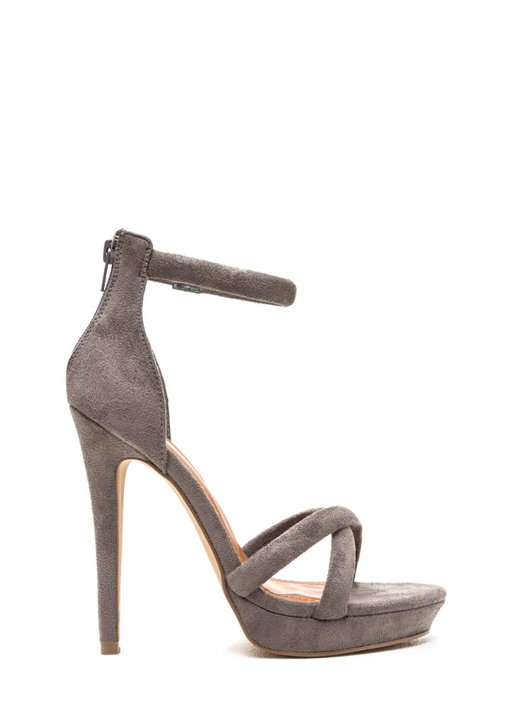 Perfect Evening Crisscrossed Strappy Heels GREY
