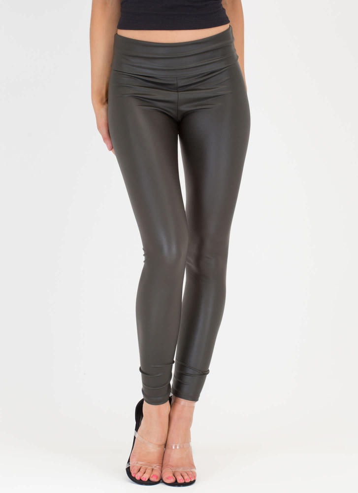 Ready To Rock Coated Leggings OLIVE