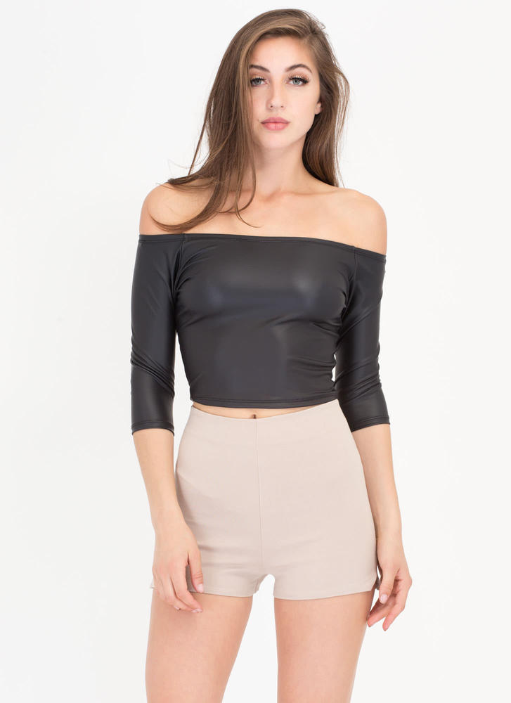 Smooth Operator Faux Leather Crop Top BLACK