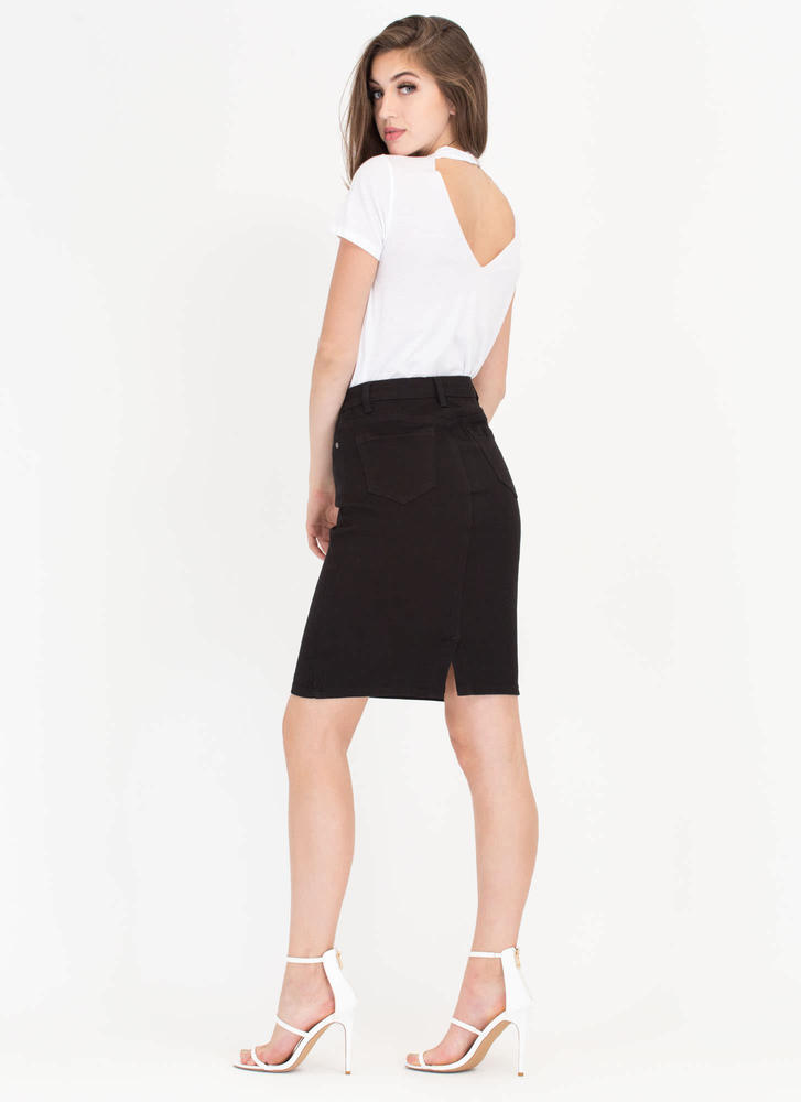 I Was Born Ready Denim Pencil Skirt BLACK