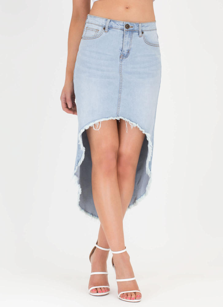 Fray By The Rules High-Low Denim Skirt LTBLUE