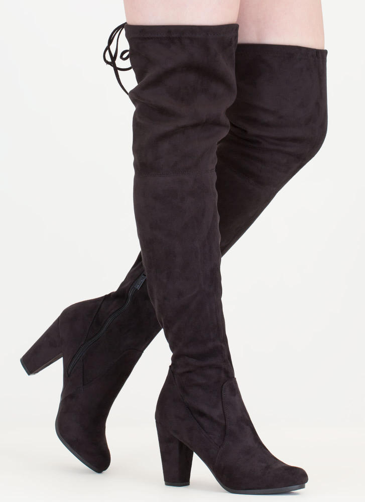 Drawstring Dream Thigh-High Boots BLACK