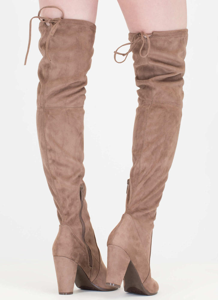 Drawstring Dream Thigh-High Boots TAUPE