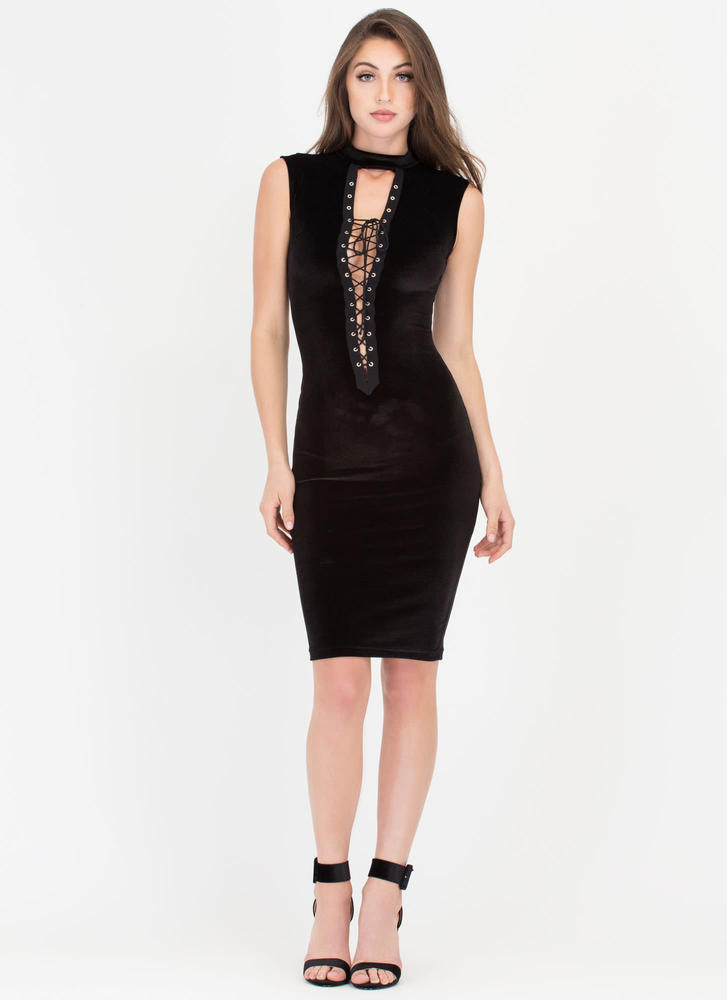 Modern Coven Lace-Up Velvet Dress BLACK