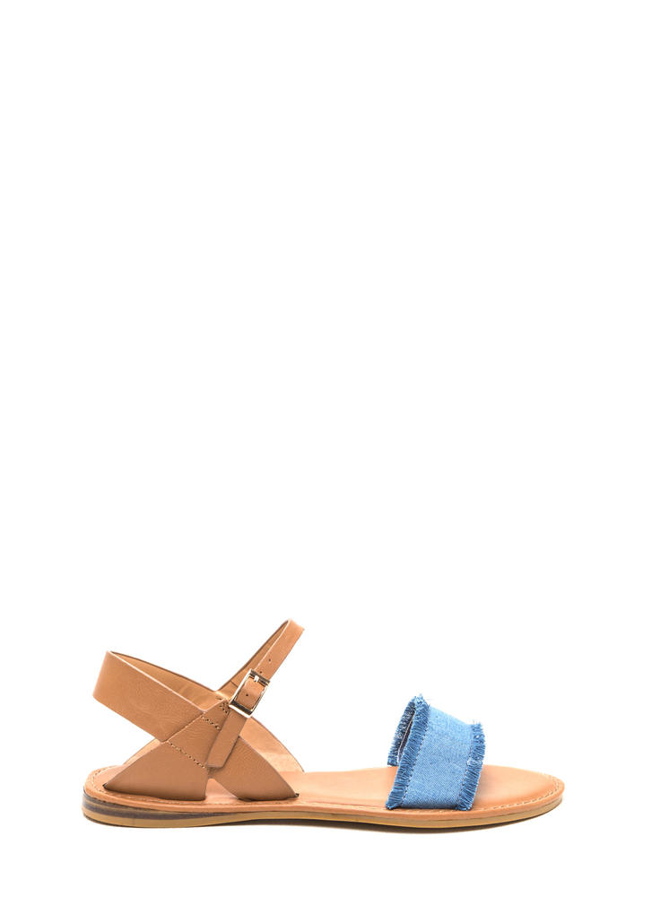 Beach Dweller Fringed Denim Sandals BLUE