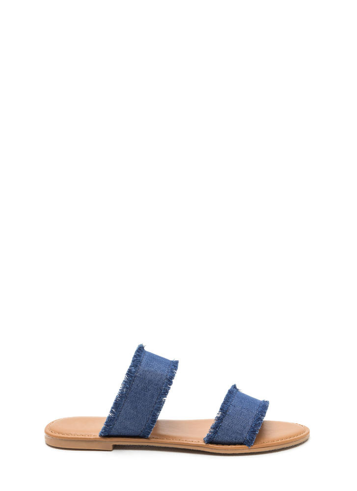 Doubled Up Denim Strappy Slide Sandals