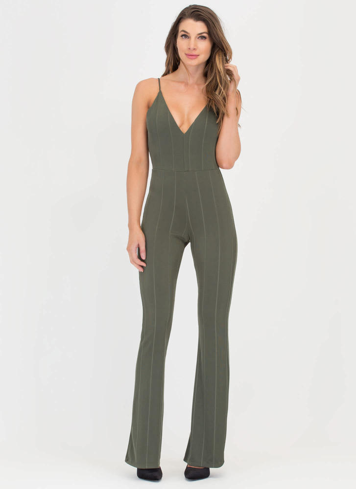 New Line Plunging Palazzo Jumpsuit OLIVE