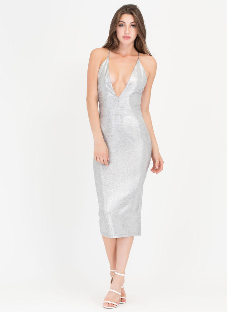 All Systems Glow Lace-Back Midi Dress SILVER