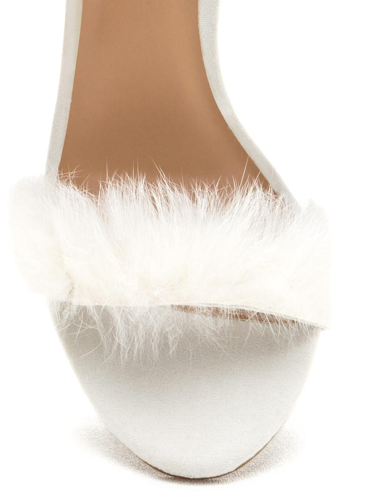 Fur One Night Ankle Strap Heels IVORY