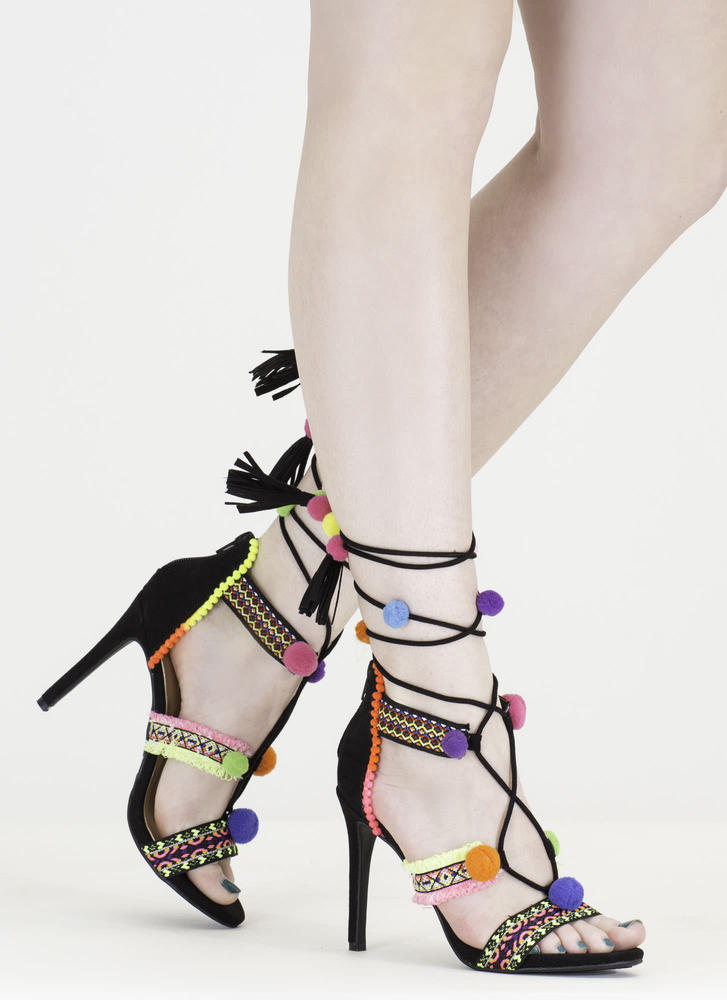 Let's Party Lace-Up Pom-Pom Heels
