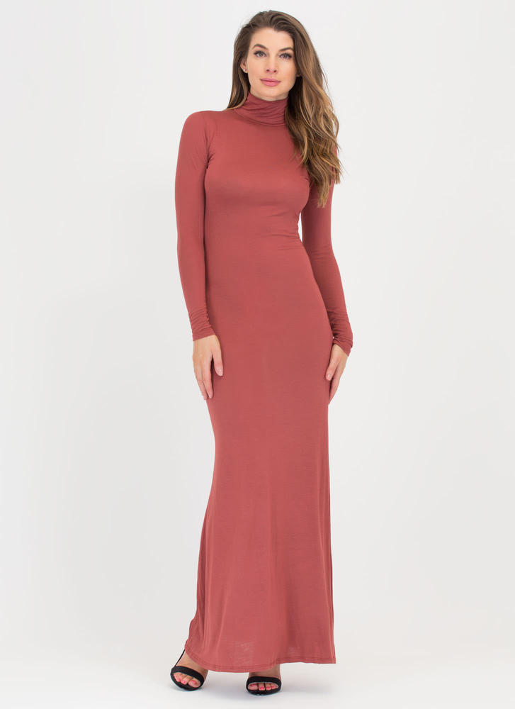 Here's To You Mockneck Maxi Dress MARSALA