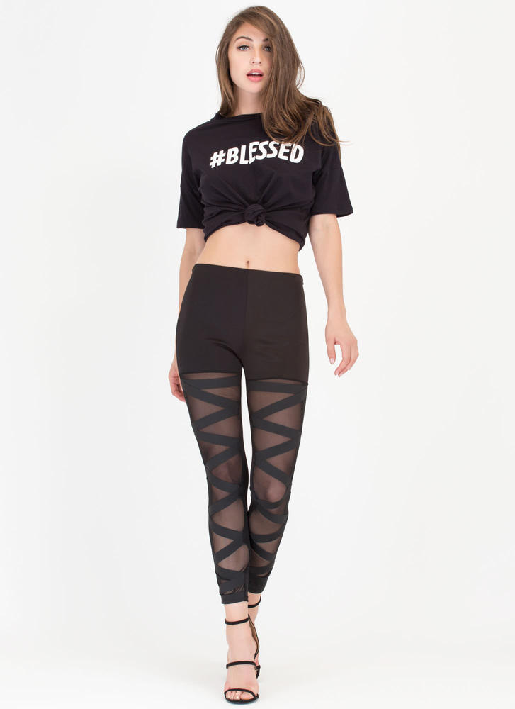 Hashtag Blessed Oversized Graphic Tee BLACK