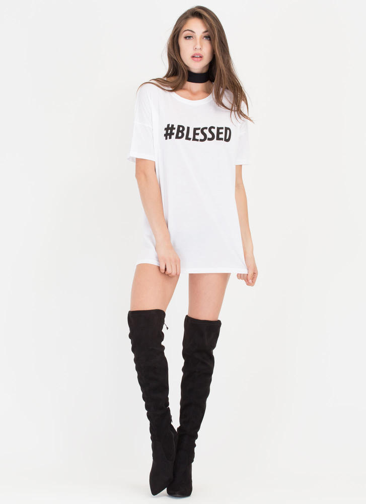 Hashtag Blessed Oversized Graphic Tee WHITE