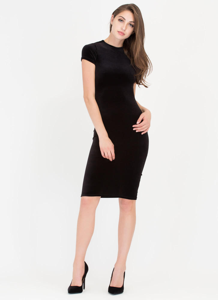 Head Up High Neck Velvet Midi Dress BLACK