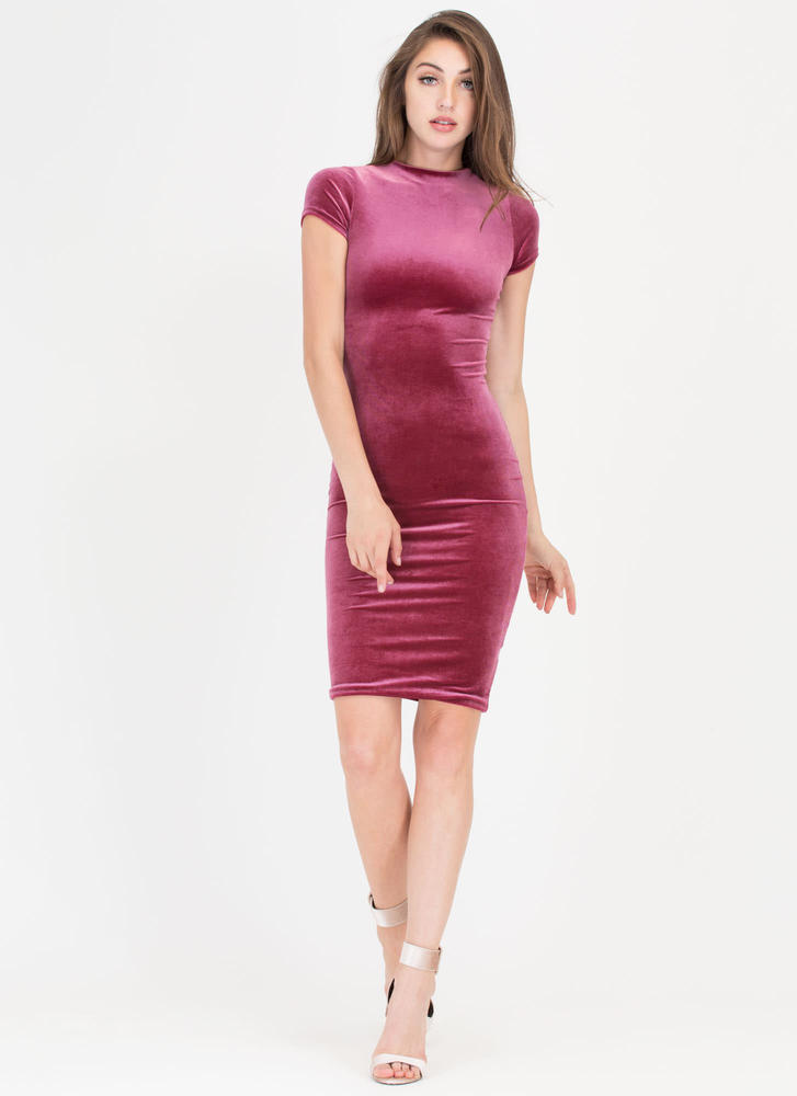 Head Up High Neck Velvet Midi Dress MAUVE