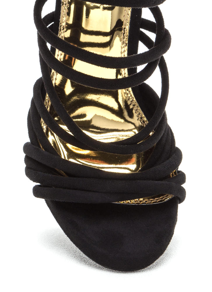 Elevated Life Caged Faux Suede Heels BLACK