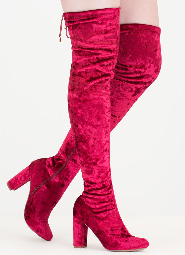 Chic Vibe Chunky Velvet Thigh-High Boots WINE