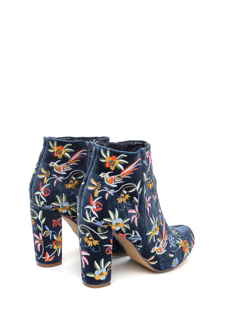 Fanciful Florals Chunky Velvet Booties MOONLIGHT