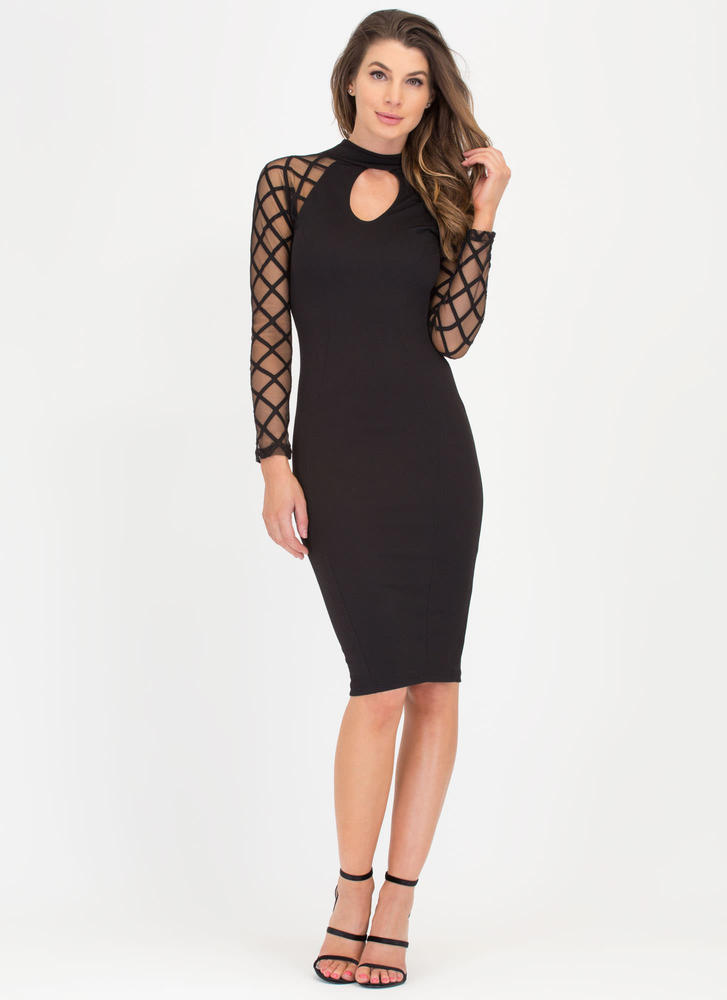 Latticed Look Sheer Mesh Midi Dress