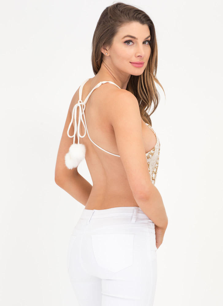 Wave The Date Sequin Tie-Back Top WHITE