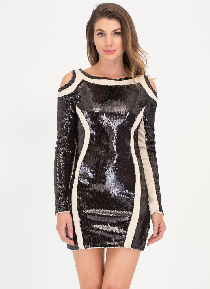 New Curves Sequined Cold Shoulder Dress