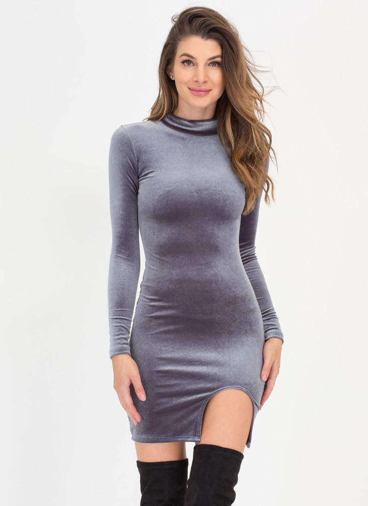 U Need This Cut-Out Slit Velvet Dress GREY