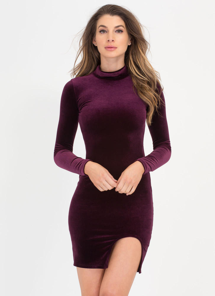 U Need This Cut-Out Slit Velvet Dress