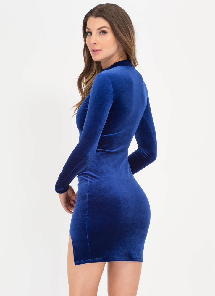 U Need This Cut-Out Slit Velvet Dress ROYAL
