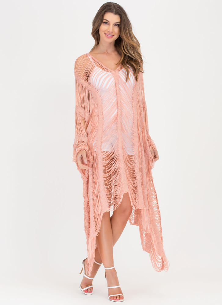 New Story Shredded Sheer High-Low Dress