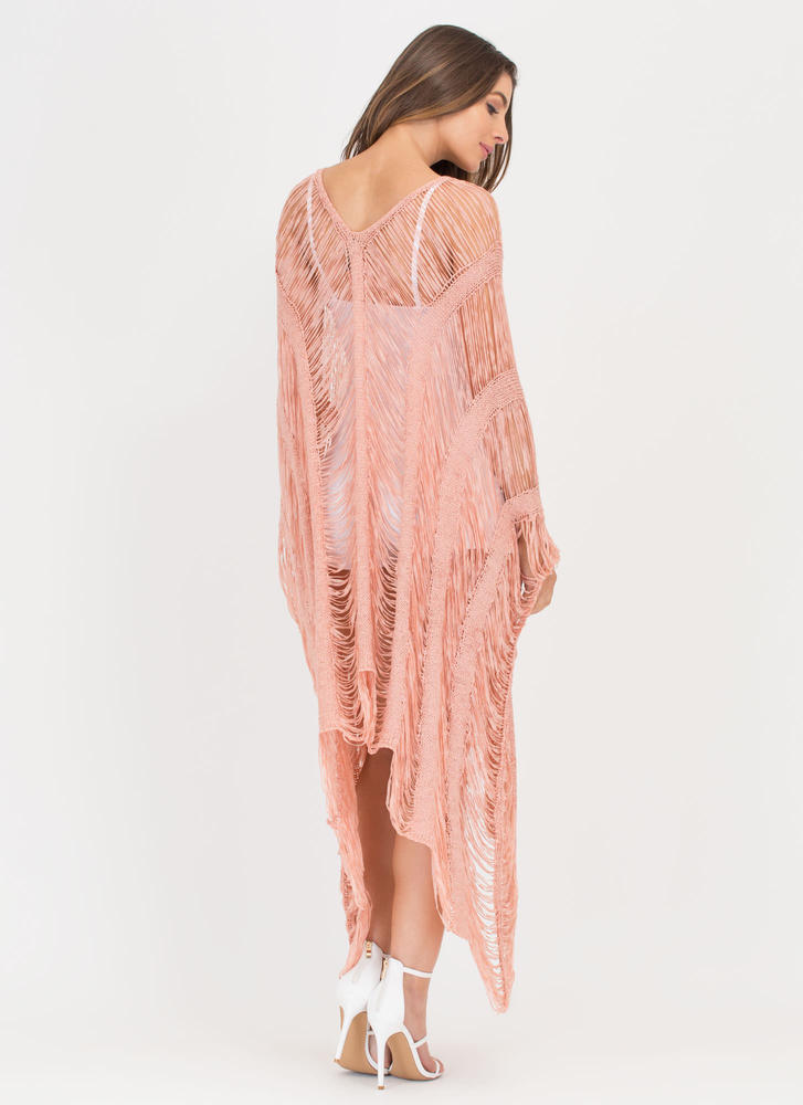 New Story Shredded Sheer High-Low Dress BLUSH