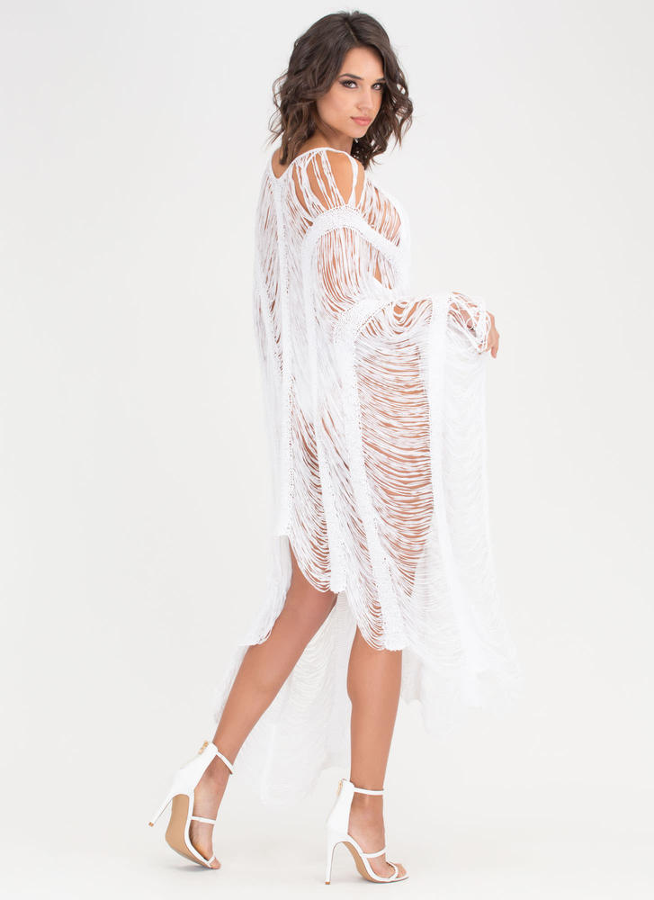 New Story Shredded Sheer High-Low Dress WHITE