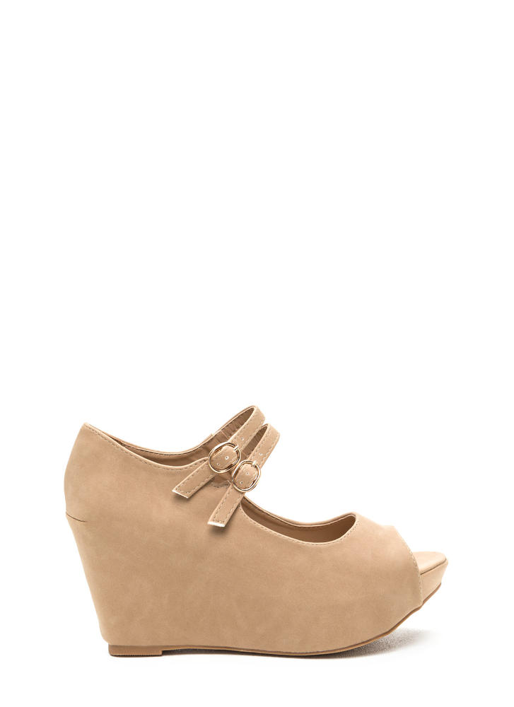 Two Cute Buckled Faux Nubuck Wedges NATURAL