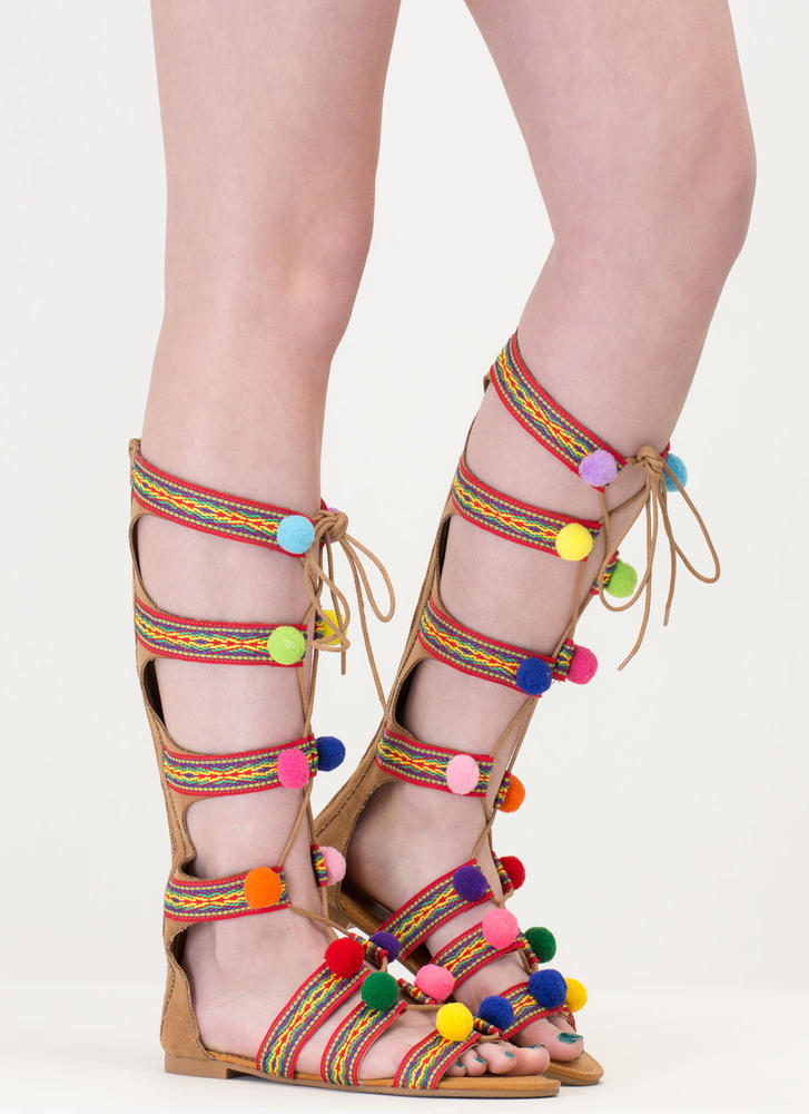 Pom Dot Com Tribal Gladiator Sandals TAN