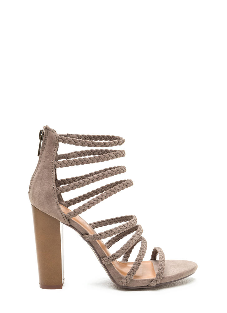 Eight's Enough Braided Strap Heels TAUPE