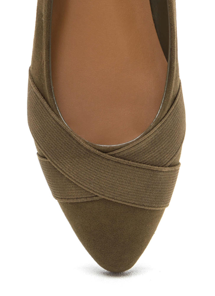 Sick Crossover Pointy Faux Suede Flats OLIVE