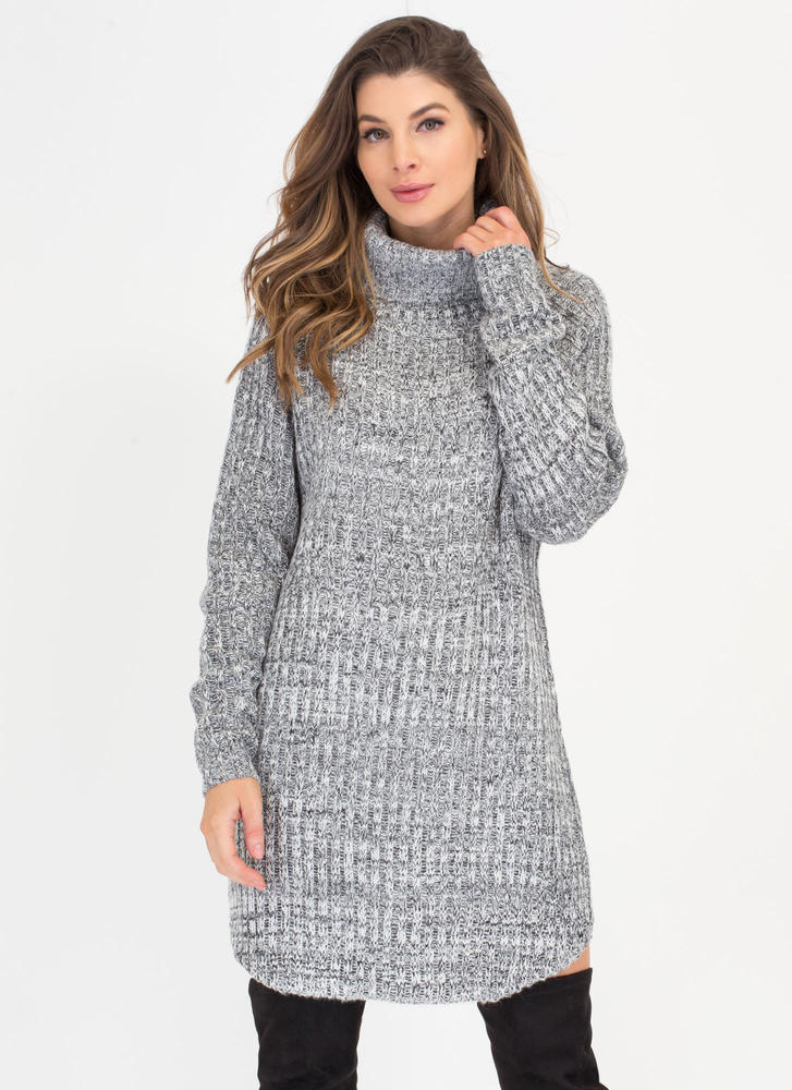 Cozy Does It Turtleneck Sweater Dress HGREY