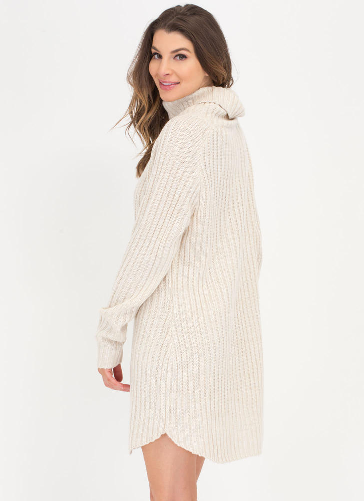 Cozy Does It Turtleneck Sweater Dress NATURAL
