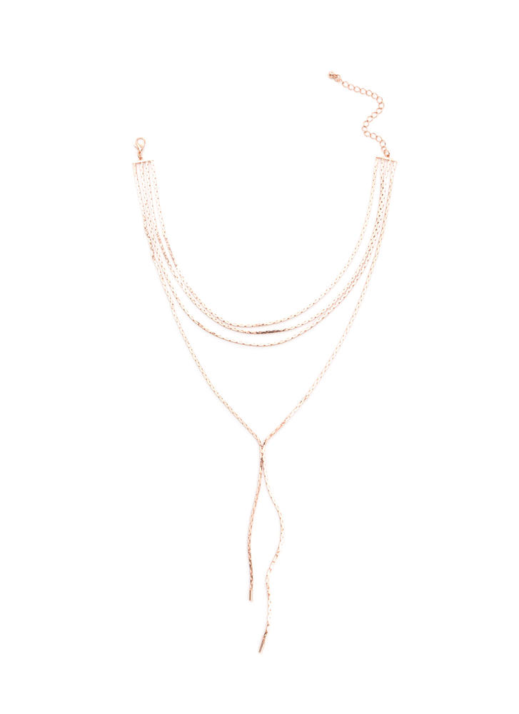 Y-Drop A Line Chain Necklace ROSEGOLD
