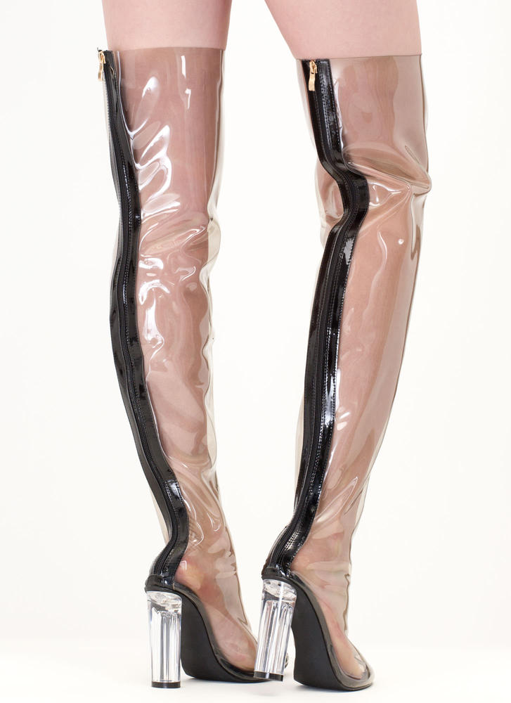 Clear The Way' Transparent Thigh-High Boots