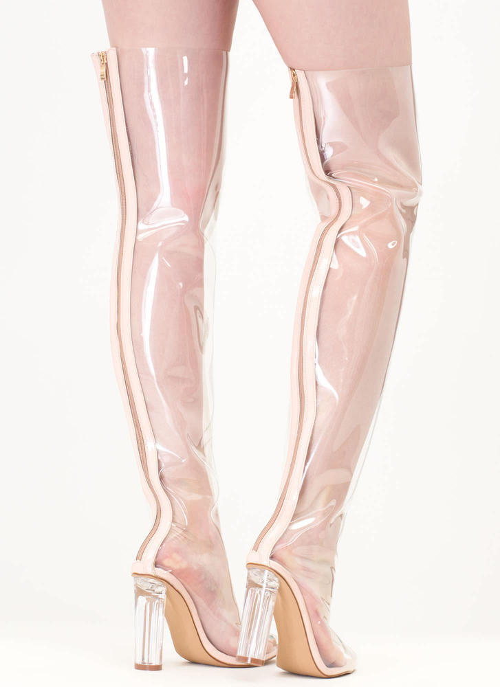 Clear The Way Thigh-High Pointy Boots NUDE