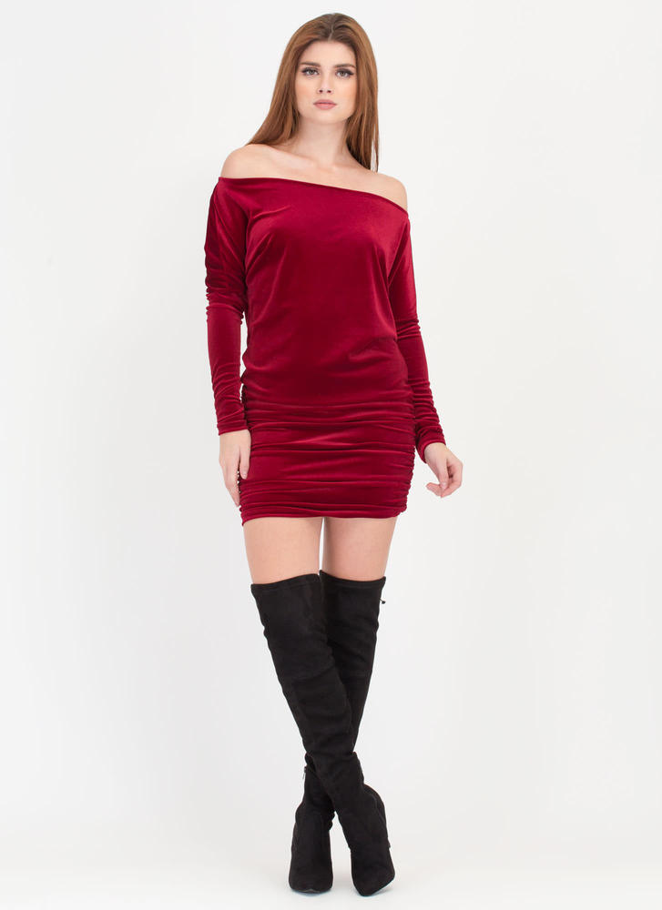 Festive Feels Ruched Velvet Dress BURGUNDY